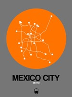 Mexico City Orange Subway Map Fine Art Print