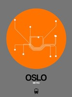 Oslo Orange Subway Map Fine Art Print