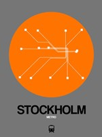 Stockholm Orange Subway Map Fine Art Print