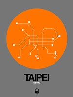 Taipei Orange Subway Map Fine Art Print