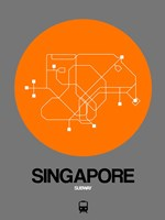 Singapore Orange Subway Map Fine Art Print