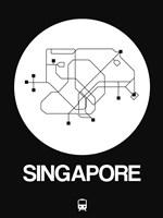Singapore White Subway Map Fine Art Print