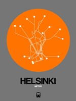Helsinki Orange Subway Map Fine Art Print