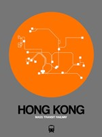 Hong Kong Orange Subway Map Fine Art Print