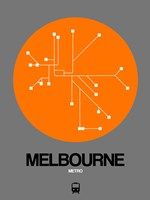 Melbourne Orange Subway Map Fine Art Print