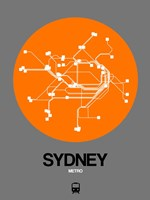 Sydney Orange Subway Map Fine Art Print