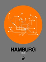 Hamburg Orange Subway Map Fine Art Print