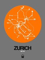 Zurich Orange Subway Map Fine Art Print
