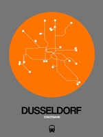 Dusseldorf Orange Subway Map Fine Art Print