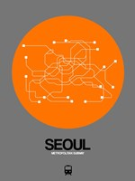 Seoul Orange Subway Map Fine Art Print
