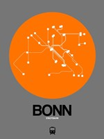 Bonn Orange Subway Map Fine Art Print