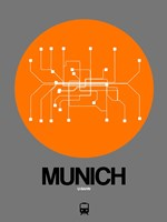 Munich Orange Subway Map Fine Art Print