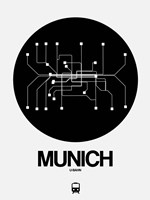 Munich Black Subway Map Fine Art Print