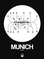 Munich White Subway Map Fine Art Print