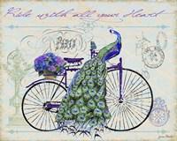 Peacock On Bicylce III Fine Art Print