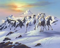 Horses In The Snow Fine Art Print