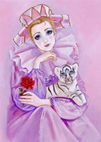 Harlequin And Baby Tiger Fine Art Print