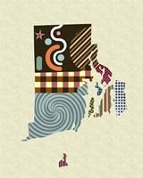 Rhode Island State Map Fine Art Print