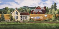 House, Quilt & Red Barn Fine Art Print