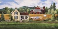 House, Quilt & Red Barn Fine Art Print