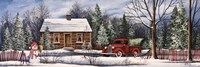 Winter Snowman Truck Fine Art Print