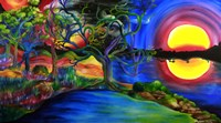 Colorful Psychedelic Rainbow Lake Art Fine Art Print