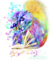 Colorful Rainbow Kitten Reading Fine Art Print
