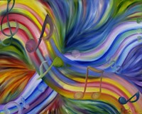 Colorful Rainbow Music Notes Fine Art Print