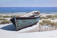 Blue Boat on Beach Fine Art Print