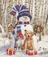 Kitten and Puppy with Snowman Fine Art Print