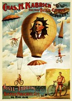 Circus 1882 - Bicycle Parachute Act Fine Art Print