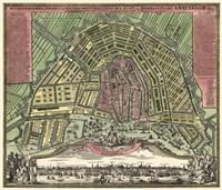 Homann Erben's Accurate Map of Amsterdam 1727 Fine Art Print