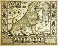 Leo Belgicus Map - Hendrik Floris Van Langren Pre 1609 Fine Art Print