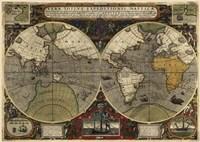 Hondius map of the World 1595 Fine Art Print