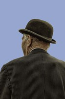 Bowler Hat Man Blue Fine Art Print