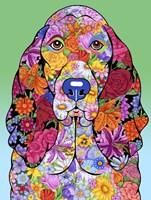Flowers Basset Hound Framed Print