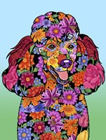 Flowers Poodle Black Fine Art Print