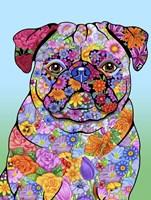 Flowers Pug Fine Art Print