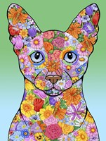 Flowers Siamese Cat Fine Art Print
