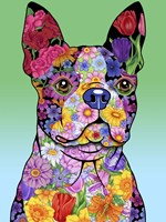Flowers Boston Terrier Fine Art Print