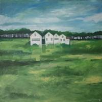 Settlement By Field Fine Art Print