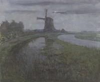 Oostzijdse Mill Along the River Gein by Moonlight Fine Art Print