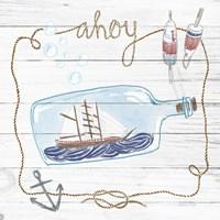Ship in a Bottle Ahoy Shiplap Fine Art Print