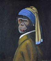 Monkey with Pearl Earring Fine Art Print
