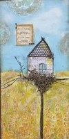Happy Home Bird House Fine Art Print