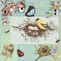 Birds & Bees Color-Blocks Green Fine Art Print