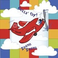 Gotta' Fly Happy Plane Block Fine Art Print