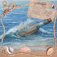 Message In Bottle-Beach Postcard Fine Art Print