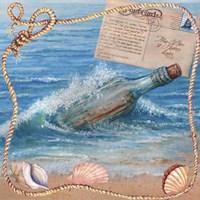 Message In Bottle-Beach Postcard Fine Art Print