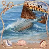 Message In Bottle-Sunset Beach Fine Art Print